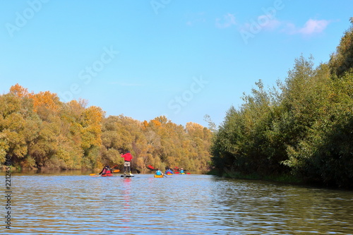Fotografie, Obraz  Group of kayakers and SUP rowing along the Danube river against a background of