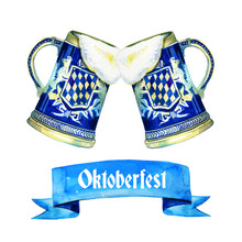 Hand Drawn Watercolor Illustration For Oktoberfest With Two Bavarian Beer Ceramic Mugs