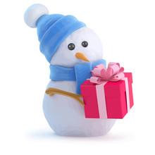 Vector 3d Snowman Has A Christmas Gift