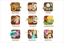 Movie Genres Set, Crime, Comedy, Animation, Western, Tragedy, Thriller, Fantasy, Musical, Erotica Colorful Vector Illustrations