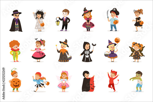ute little kids in colorful halloween costumes set, Halloween children trick or Fototapeta