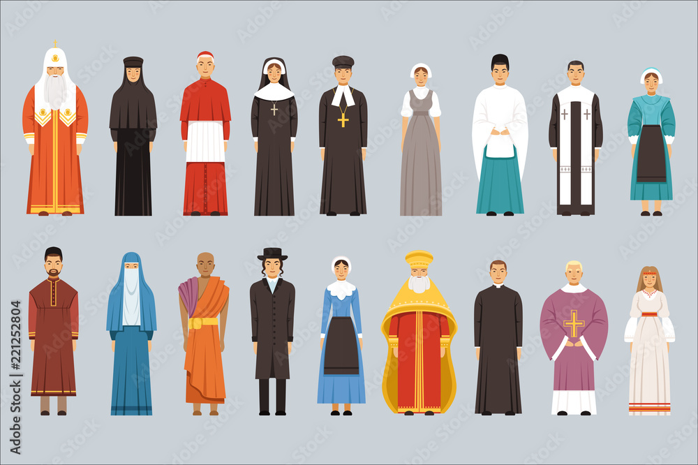 Fototapety, obrazy: Religion people set, men and women of different religious confessions in traditional clothes