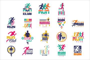 Run sport club logo templates set, emblems for sport organizations, tournaments and marathons colorful vector Illustrations