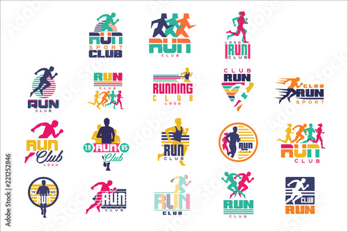Fotografija  Run sport club logo templates set, emblems for sport organizations, tournaments