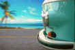 The vintage van rides along the coastal highway along the beach with palm trees. The concept of vacation, travel.