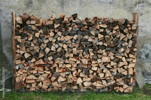 Foto op Canvas Brandhout textuur wood piled up