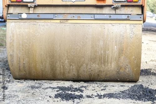 Fotografia  Asphalt compactor close up