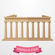 Acropolis Of Athens Icon On White Background