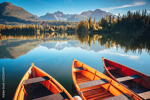 Beautiful Mountain lake in National Park High Tatra. Strbske pleso, Slovakia, Europe