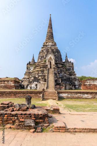 Ancient pagoda in historical park Wat Phra si sanphet ayutthaya thailand