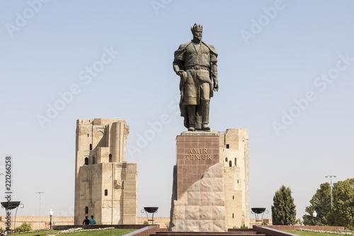 Foto op Aluminium Historisch mon. The monument to the Turco-Mongol conqueror Amir Timur in Shahrisabz, Uzbekistan.