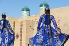 Folk Dancers Performs Traditional Dance At Local Festivals In Khiva, Uzbeksitan.