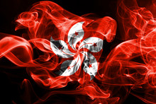 National Flag Of Hong Kong Made From Colored Smoke Isolated On Black Background