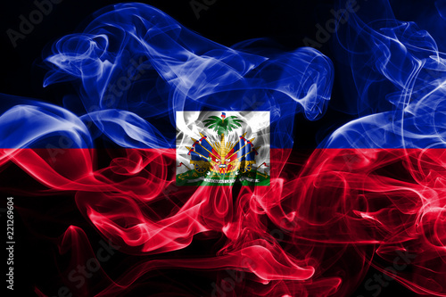 Fotografie, Tablou National flag of Haiti made from colored smoke isolated on black background
