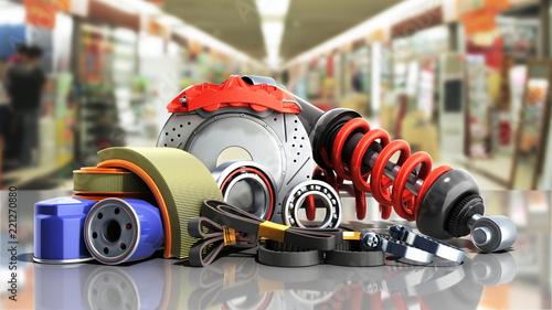 Fotografía  concept of vehicle maintenance automotive supplies 3d render on a sale backgroun