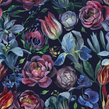 Seamless Pattern Of Different Flowers And Leaf On Black Background