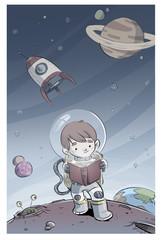 Fototapeta samoprzylepna niño astronauta leyendo un libro en el espacio