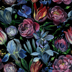 FototapetaSeamless pattern of different flowers and leaves on black background