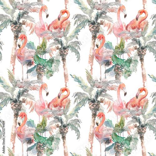 akwarela-bezszwowy-wzor-palma-z-flamingiem-na-bialym-tle-reka-rysujaca-ilustracja-dla-twoj-projekta-do-druku-zaproszenia-dla-dzieci