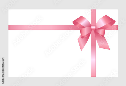 Fotografía Decorative pink bow with horizontal pink ribbons isolated on white