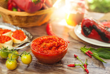 Bowl With Ajvar On The Table