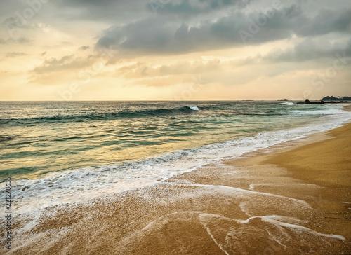 Beautiful Tropical Sea view under sunset sky at Sri Lanka beach