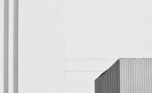 Corner Of Corrugated Metal Roof - Monochrome
