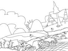 Cartoon Scene Of Camping In Th...