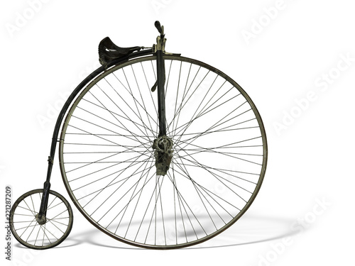 Vintage old retro bicycle isolated on white background © alexrow