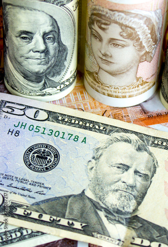 American Dollars And British Pounds This Stock Photo