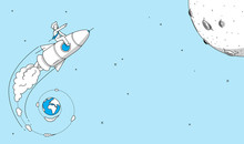 Startup Company Rocket Launch Concept. Man Flying On Rocket To The Moon. Modern Illustration In Linear Style.