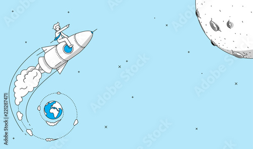 Photo  Startup company rocket launch concept