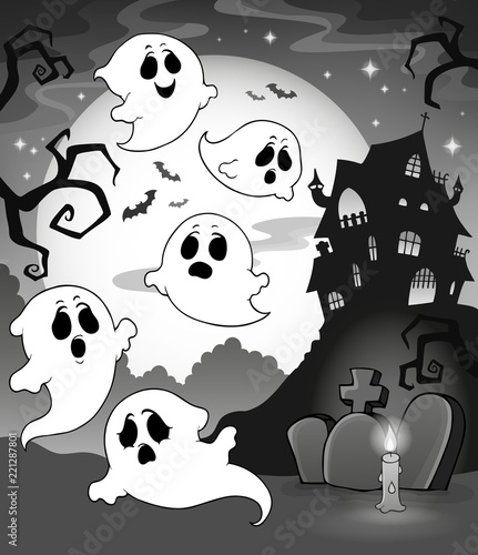 Ghosts near haunted house theme 7