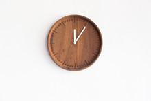 Round Wooden Clock On White Co...