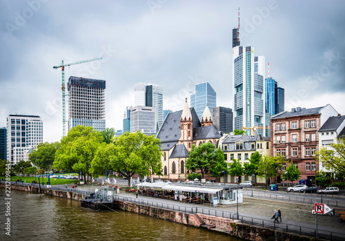 View on the financial district with Main river in Frankfurt city Canvas Print