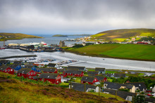 Scalloway Harbour View At Rainy Day