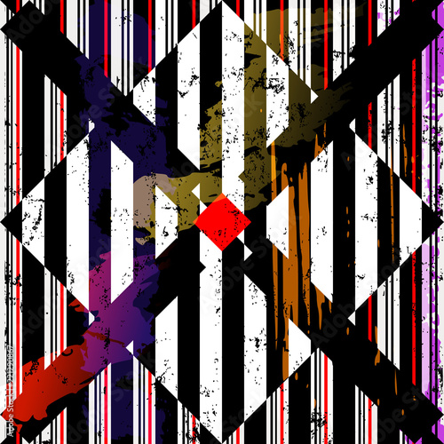abstract geometric vector, with stripes, squares, strokes and splashes, black and white