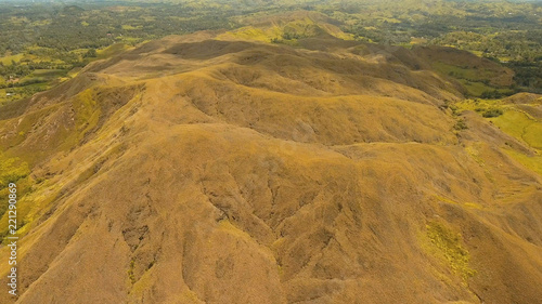 Aerial view Beautiful hilly mountains landscape. Big hills on a tropical island Bohol , Philippines. Travel concept.