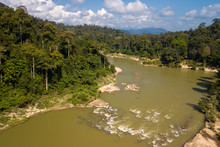 Tropical River And Rainforest Aerial View