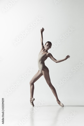 Canvastavla Young graceful female ballet dancer or classic ballerina dancing isolated on white studio
