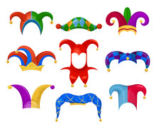 Jester Or Fool Hat Set On White Background