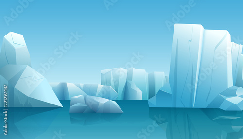 Keuken foto achterwand Blauw Vector Winter illustration of nature winter arctic landscape with ice iceberg, blue pure water and snow hills.