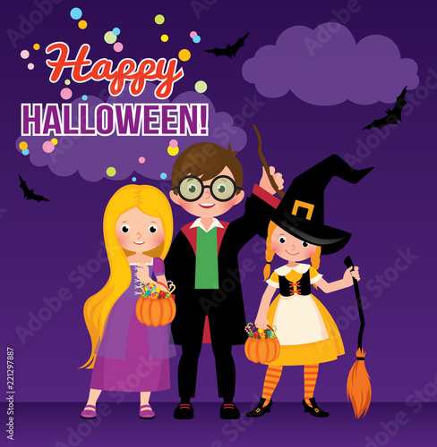 Fotografie, Obraz  Group of cheerful children in Halloween costumes Stock vector illustration