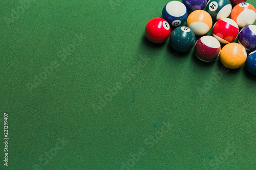 Close up of pool billiards snooker balls on green table with setup position Fototapet