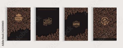 Fényképezés Coffee beans cover design set