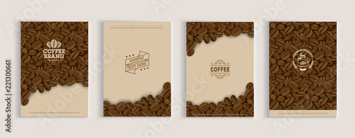Fotografering Coffee beans cover design set