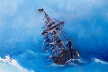 Sailing Pirate Ghost Ship, Flying Dutchman In The Open Sea On Moonlit Night. Painting. Painting With Oil Paints