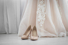 Beige Shoes. Wedding Shoes. Bride Shoes On Heel. The Bride's Fees. Wedding Decorations
