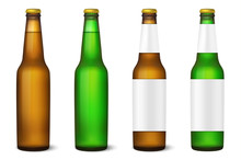 Vector Realistic 3d Empty Glossy Brown And Green Beer Bottle With Cap Icon Set Close-up Isolated On White Background. Template Of Packaging, Mock-up, Graphics. Front View. Packing Design