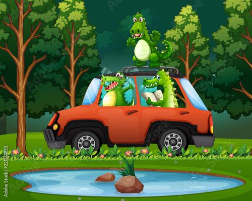 Staande foto Kids Crocodile travel in forest